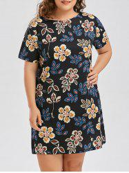 Casual Floral Print Plus Size T Shirt Dress
