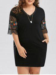 Mesh Panel Plus Size Floral Embroidery Dress -