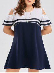 Stripe Plus Size Cold Shoulder Dress