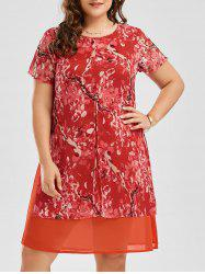 Floral Print Shift Plus Size Chiffon Dress