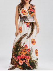 Plus Size Printed Low Cut Maxi Hawaiian Beach Dress