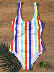 One Piece Colorful Rainbow Striped Swimwear