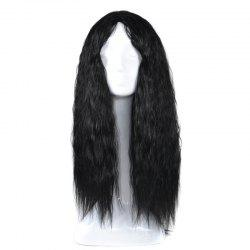 Lolita Long Center Part Corn Hot Curly Cosplay perruque synthétique - Noir