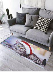 Cat Christmas Hat Print Flannel Skidproof Bathroom Rug