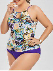 Plus Size Floral High Neck Tankini Bathing Suit