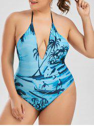 Halter Tropical Print Plus Size Swimsuit