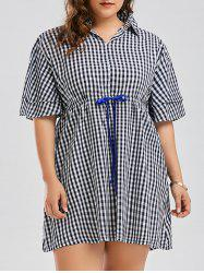 Drawstring Plus Size Checked Smock Shirt Dress