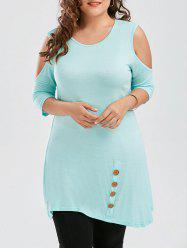 Asymmetric Plus Size Cold Shoulder  T-shirt with Button