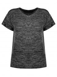 Plus Size  Marled Simple V Neck T-shirt