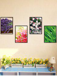 4Pcs / Set Floral Stickers amovibles Art pour mur