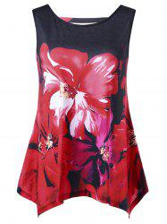 Asymmetrical Floral Plus Size Top
