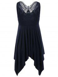 Butterfly Asymmetrical Dress - BLACK