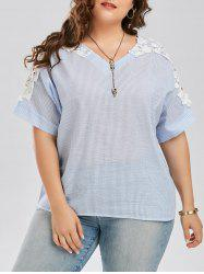 Plus Size Lace Panel Cutout Stripe Blouse