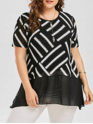 Plus Size Striped Swing Blouse with Chiffon Panel