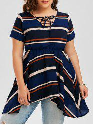 Plus Size Stripe Chiffon Swing Lace Up Top
