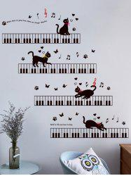 Removable Cartoon Cat Piano Wall Sticker For Kids