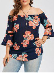 Plus Size Chiffon Off The Shoulder Floral Hawaiian Blouse - DEEP BLUE