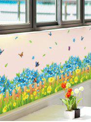 Flower Waterproof Wall Skirting Line Sticker - COLORMIX