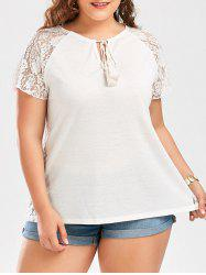 Lace Raglan Sleeve Plus Size T-Shirt