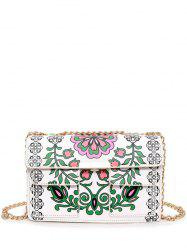 Chain Flower Print Crossbody Bag - WHITE