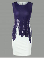 Sleeveless Two Tone Bodycon Dress - PURPLISH BLUE