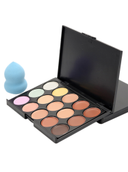 15 Colours Cream Concealer Palette and Random Color Makeup Sponge - #01