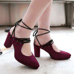 Tie Up Block Heel Pointed Toe Pumps