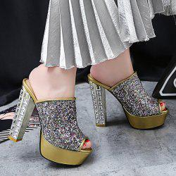 Sequined Cloth Chunky Heel Slippers
