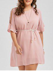 Plus Size Chiffon Flare Slit Sleeve Dress with Belt -