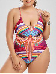 Lace Up Plus Size One Piece Graphic Swimsuit