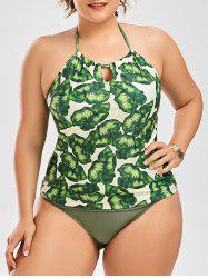 Palm Leaf Print Plus Size Tankini Set