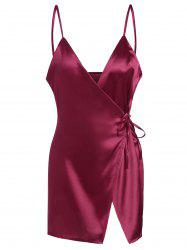 Mini Cami Satin Wrap Dress - WINE RED