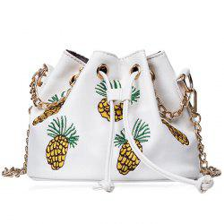 Chain Pineapple Embroidered Bucket Bag - WHITE