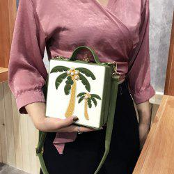 Coconut Tree Patches Boxy Handbag - GREEN