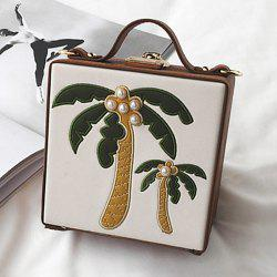 Coconut Tree Patches Boxy Handbag - BROWN