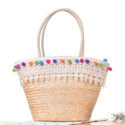 Straw Lace Pom Pom Tote Bag - WHITE