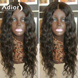 Adiors Long Dyed Perm Center Parting Curly Lace Front Synthetic Wig - #1B
