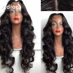 Adels Perm Dyed Center Part Long Shaggy Body Wave perruque synthétique en dentelle - 1B#