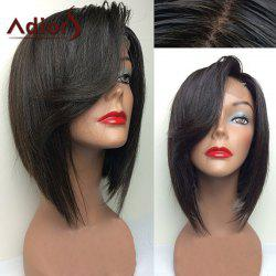 Adiors Short Bob Swept Side Bang Straight Lace Front Synthetic Wig - BLACK