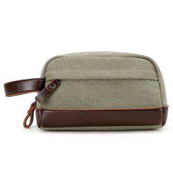 Faux Leather Panel Canvas Clutch Bag