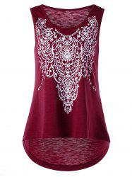 Printed Sleeveless High Low T-shirt - WINE RED XL