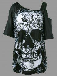 Shirred Side Skew Collar Long Skull T-shirt