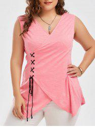 Lace Up Plus Size Surplice Tank Top - PINK