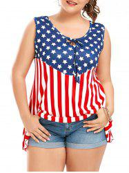 Plus Size American Flag Patriotic Sleeveless T-Shirt