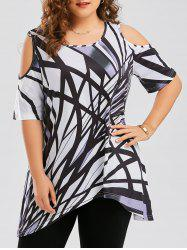 Cold Shoulder Geometric Asymmetrical Plus Size T-shirt