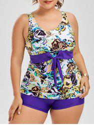 Floral Smock Swin Top Plus Size Tankini Set
