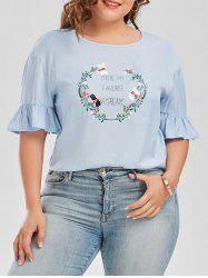 Casual Plus Size Graphic Print Top