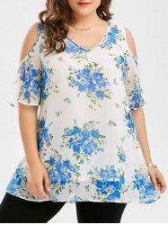 Plus Size Cold Shoulder Tiny Floral Blouse