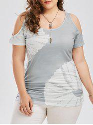 Plus Size Printed Cold Shoulder Top - GRAY