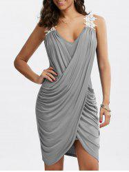Crochet Panel Overlap Ruched V Neck Dress